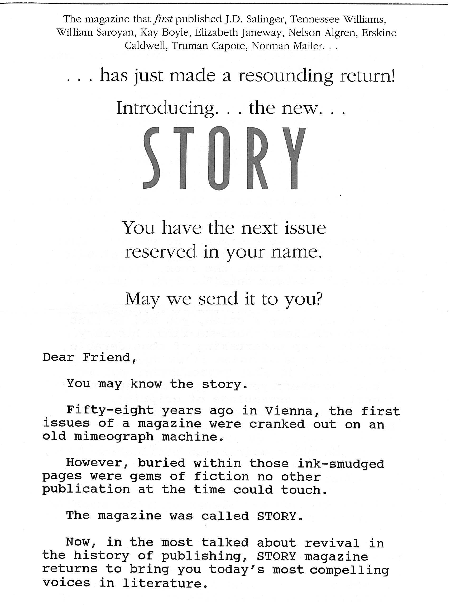 image of Story Magazine  direct mail sales letter page 1