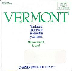 image of Vermont Magazine  direct mail sales letter envelope
