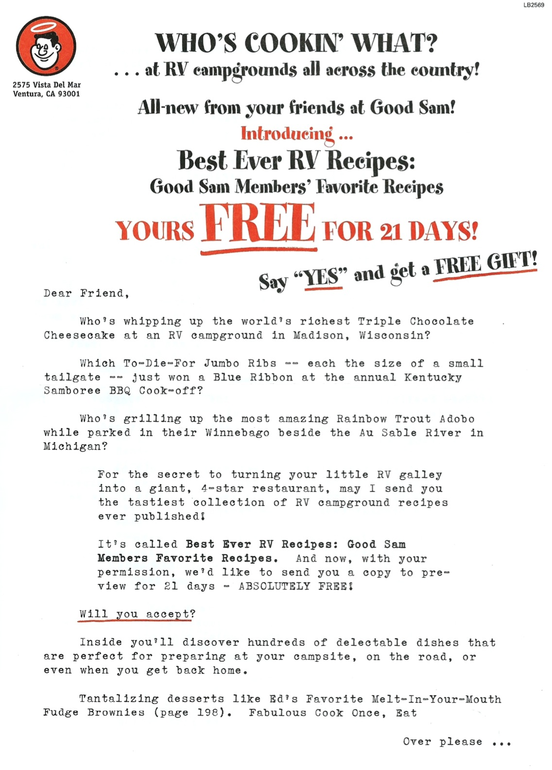 image of Best Ever RV Recipes direct mail sales letter page 1