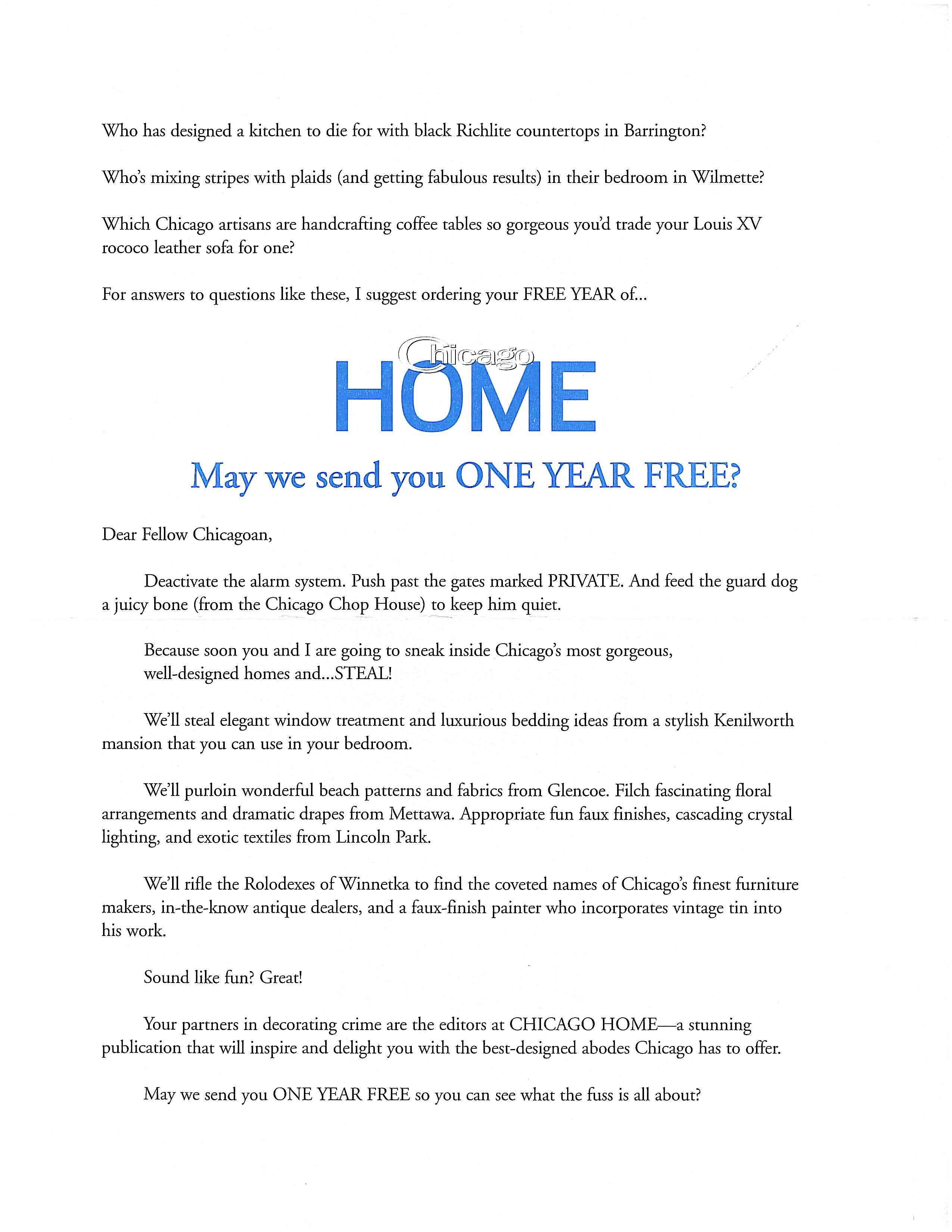 image of Chicago Home direct mail sales letter page 1