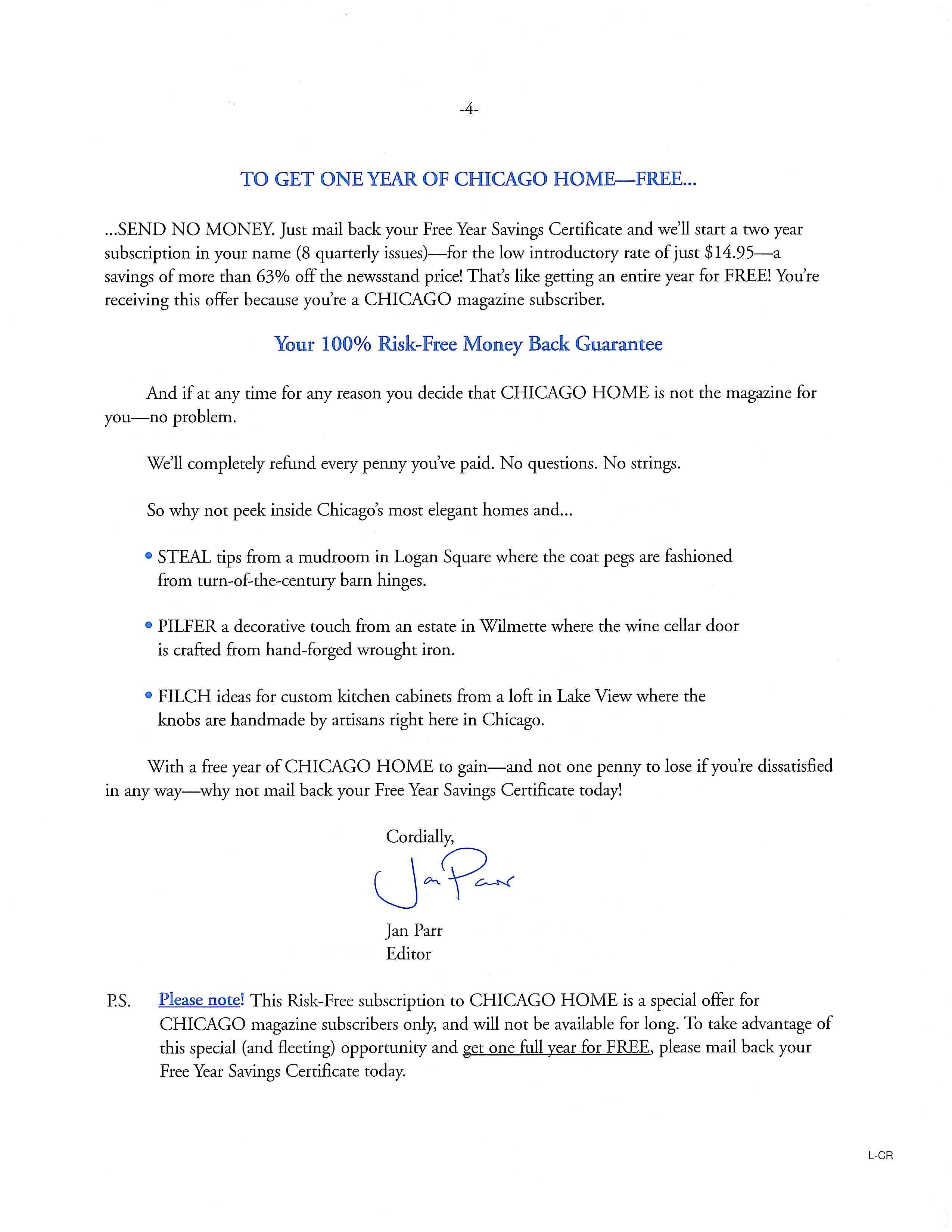 image of Chicago Home direct mail sales letter page 4