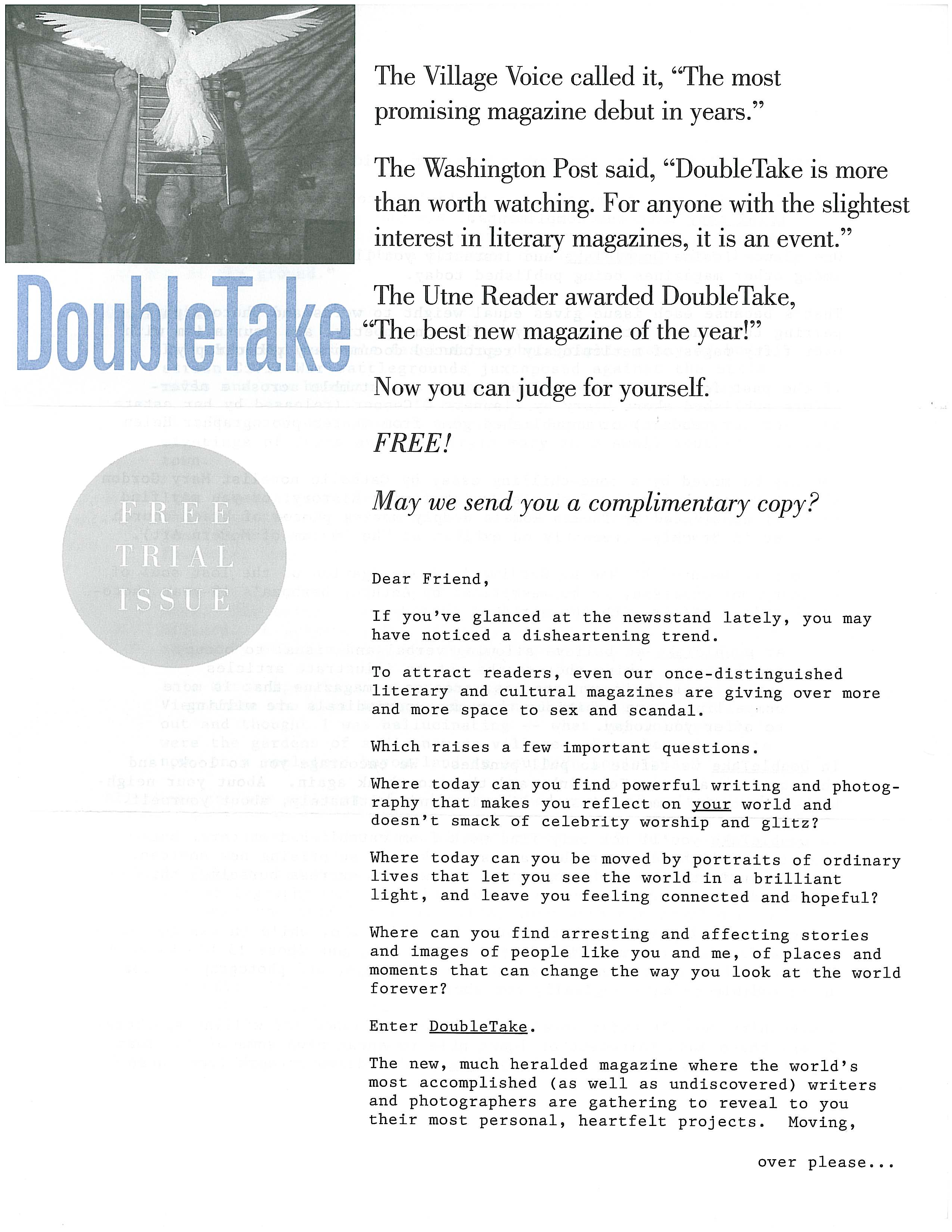 image of Doubletake direct mail sales letter page 1