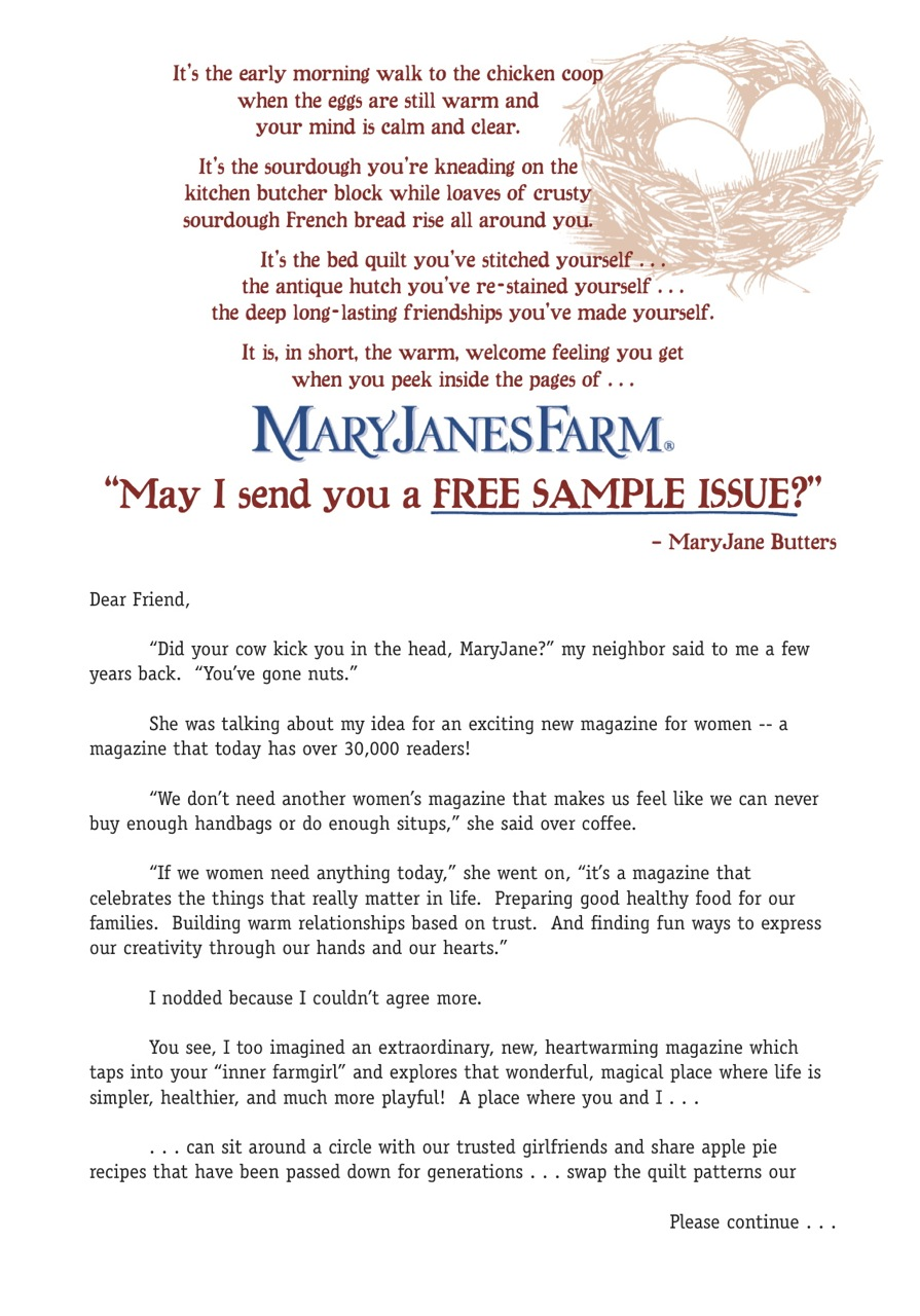 image of MARYJANESFARM MAGAZINE direct mail sales letter page 1