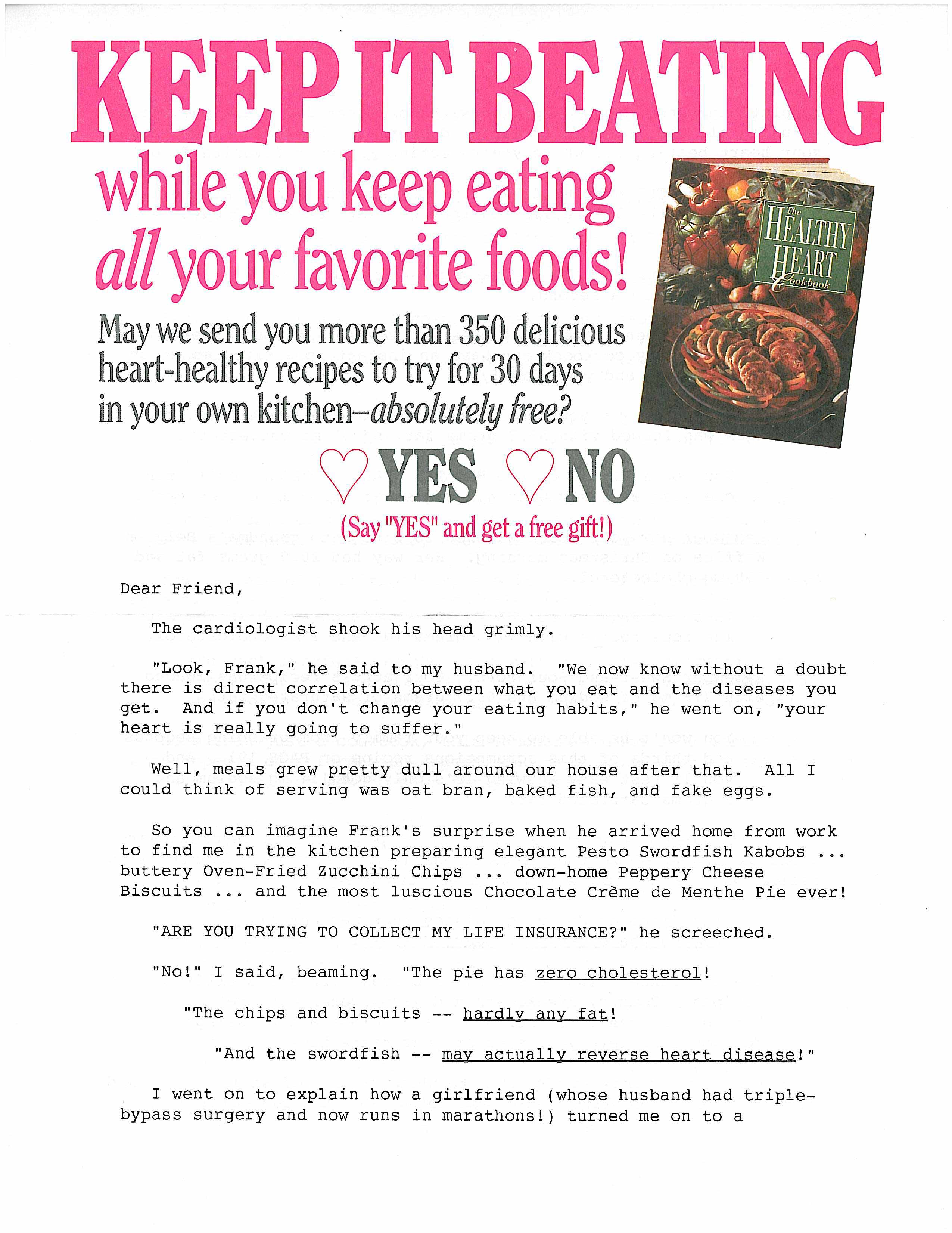 image of Healthy Heart Cookbook direct mail sales letter page 1
