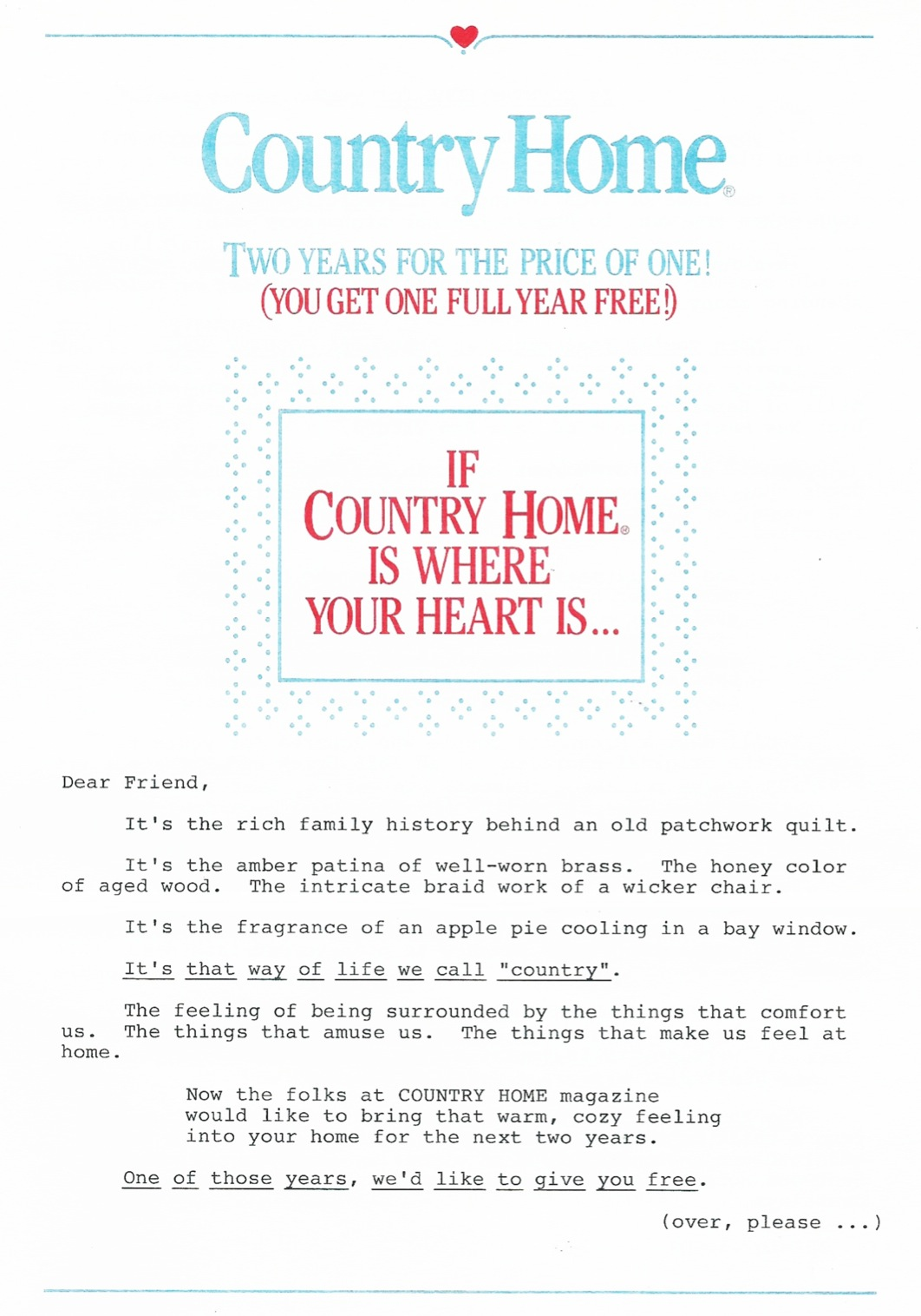 image of Country Home direct mail sales letter page 1