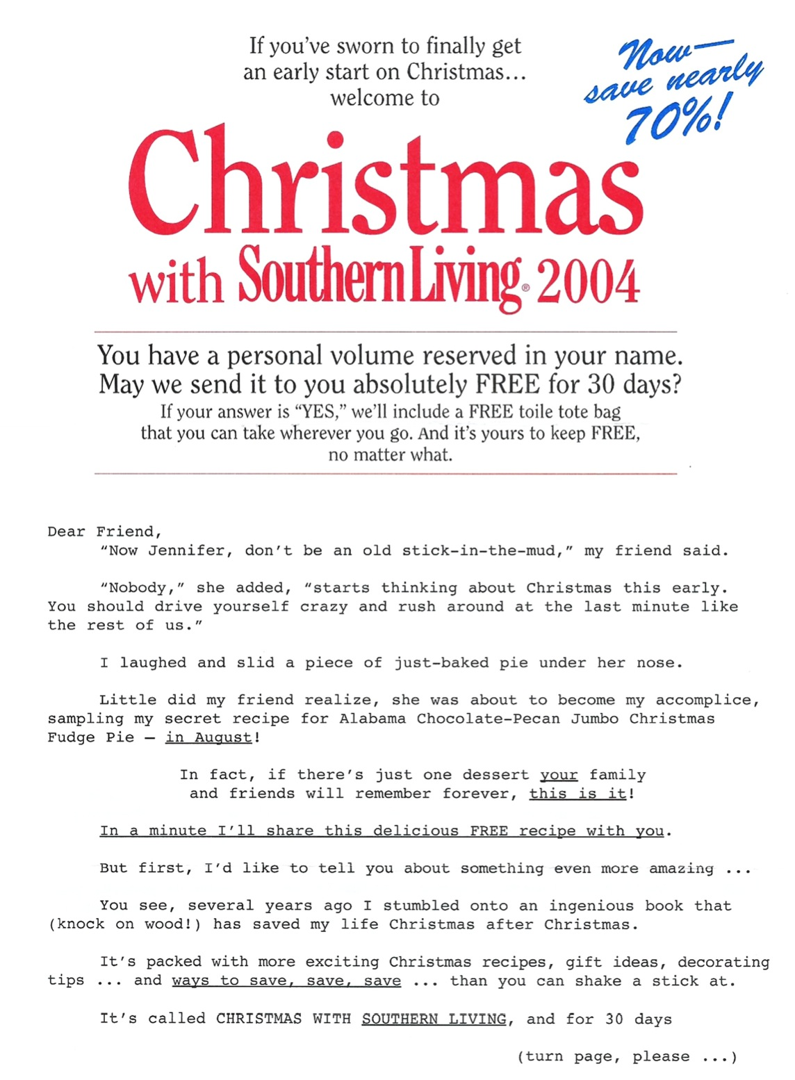 image of Christmas with Southern Living direct mail sales letter page 1