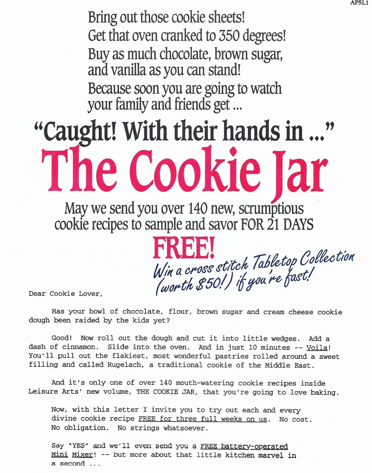image of Cookie Jar direct mail sales letter page 1