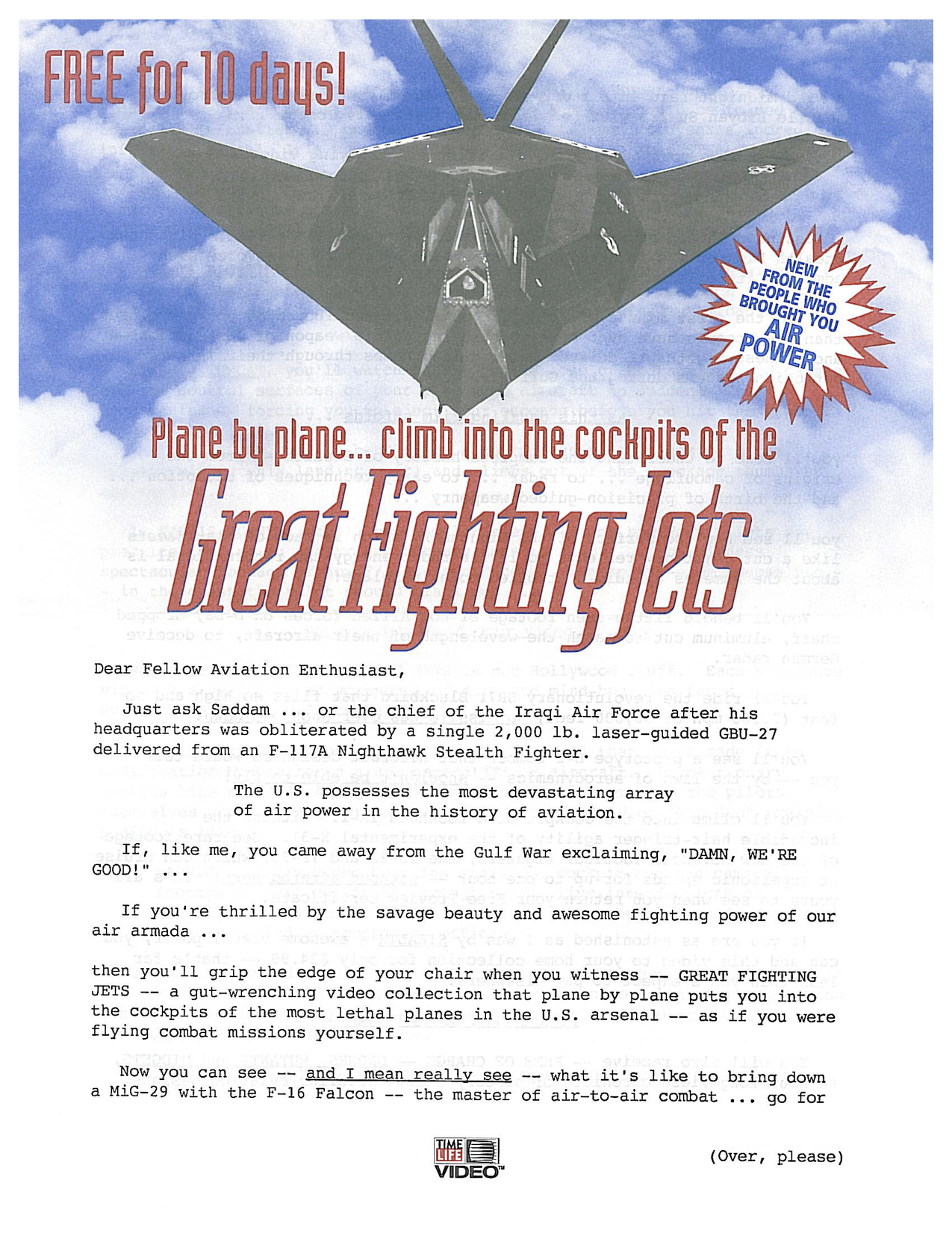 image of Great Fighter Jets direct mail sales letter page 1