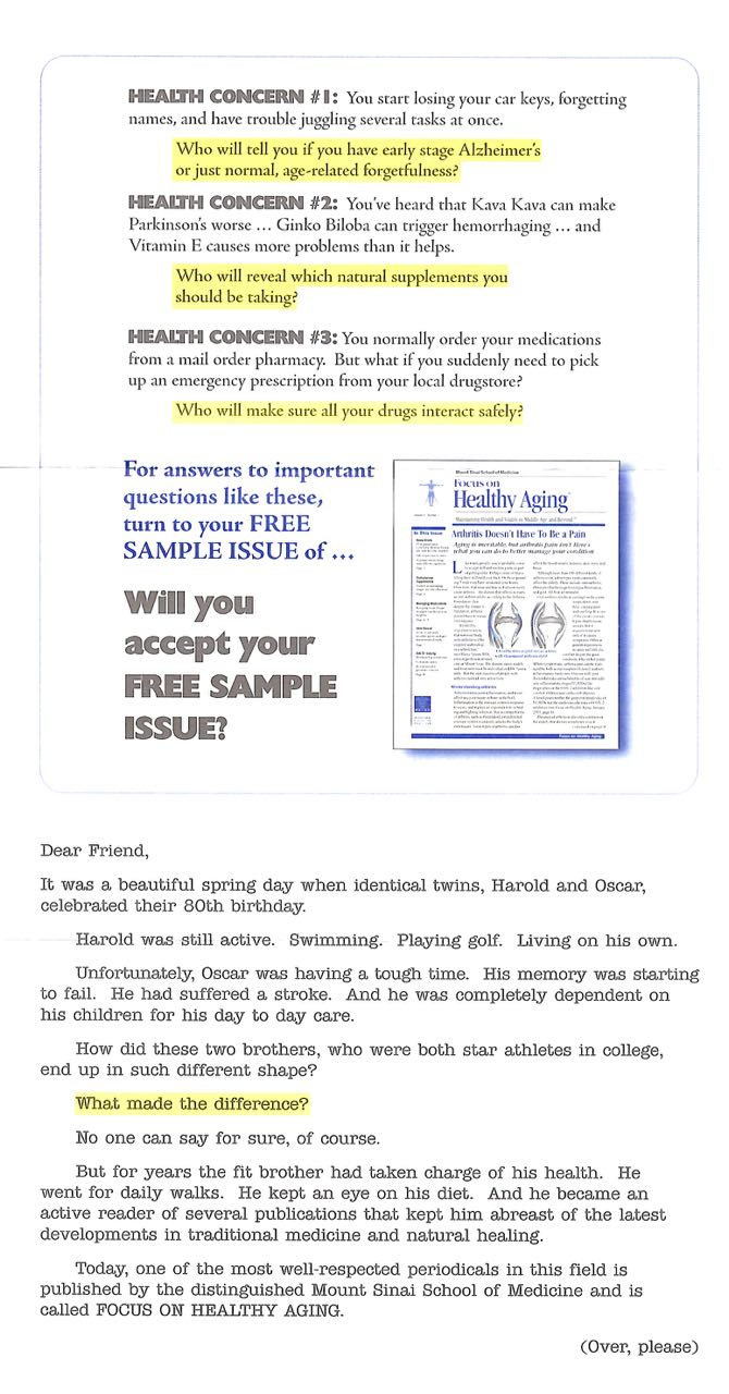 image of Healthy Aging direct mail sales letter page 1
