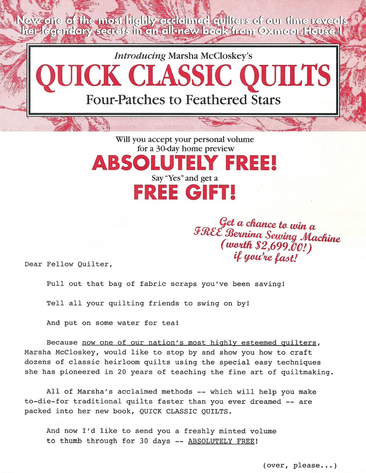 image of Quick Classic Quilts direct mail sales letter page 1