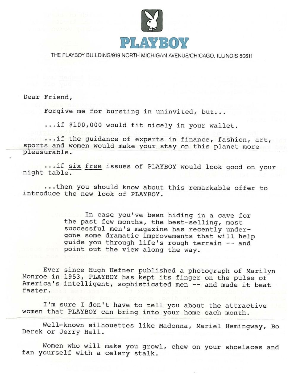 image of Playboy direct mail sales letter page 1