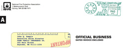 image of NFPA direct mail envelope