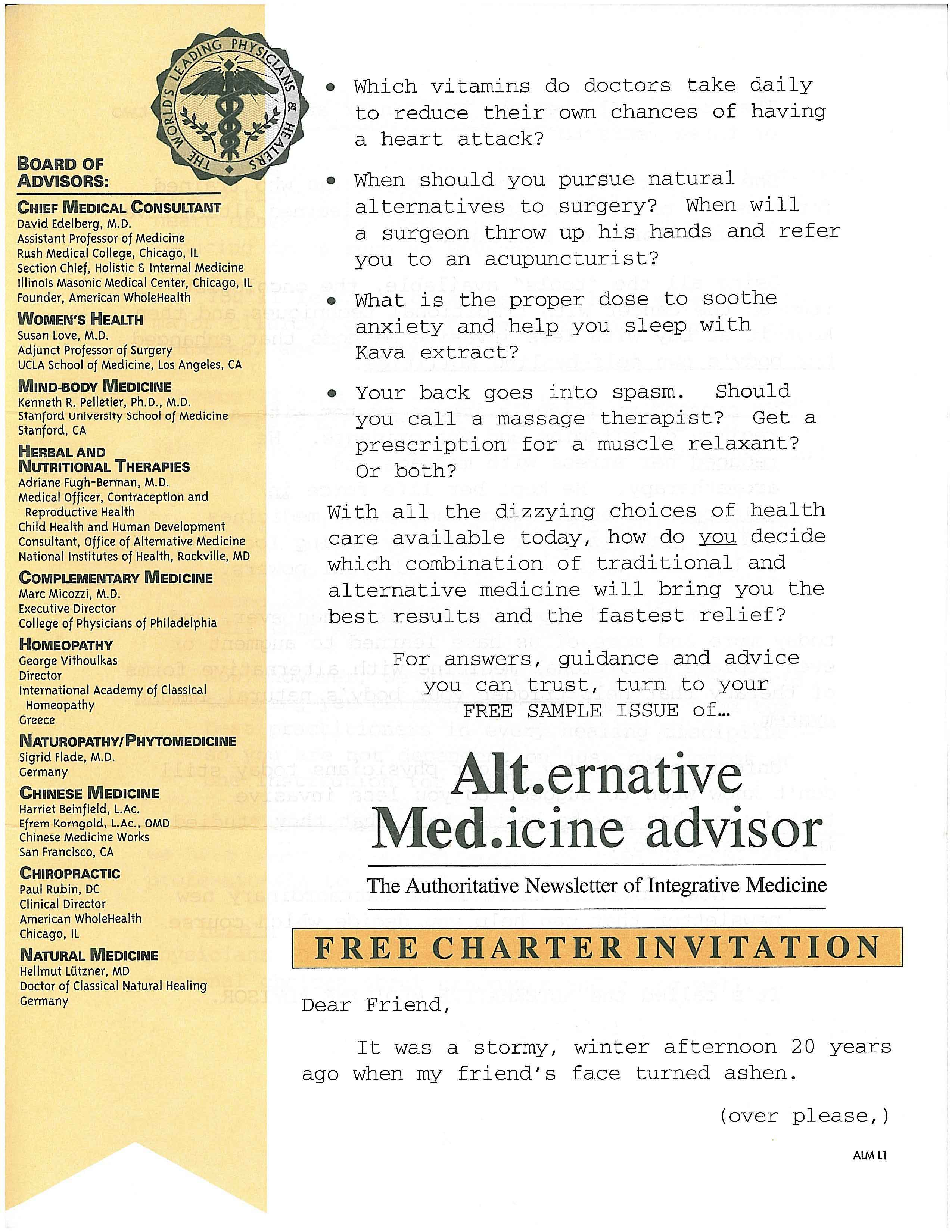 image of Alternative MD Advisor direct mail sales letter page 1