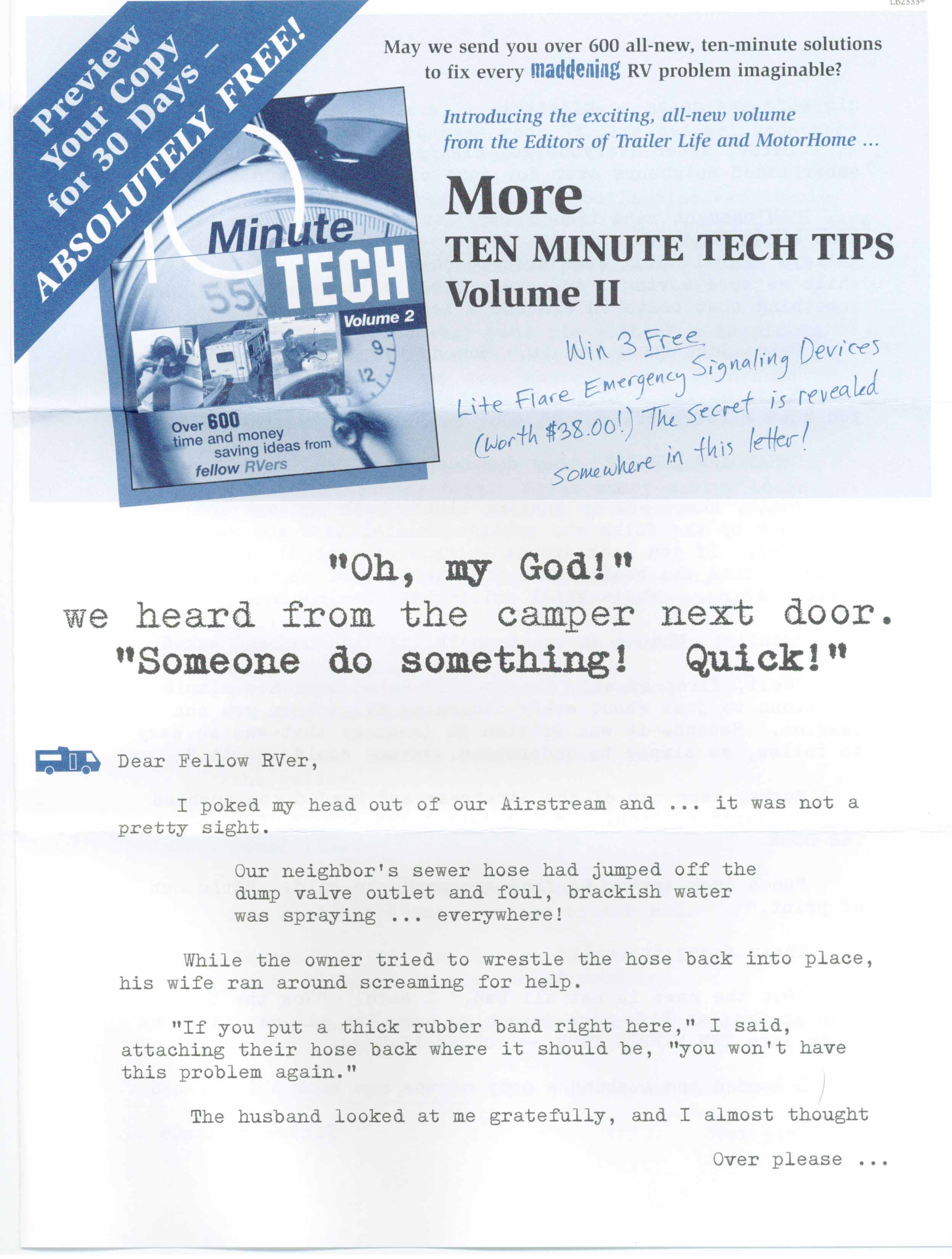 image of Ten Minute Tech direct mail sales letter page 1