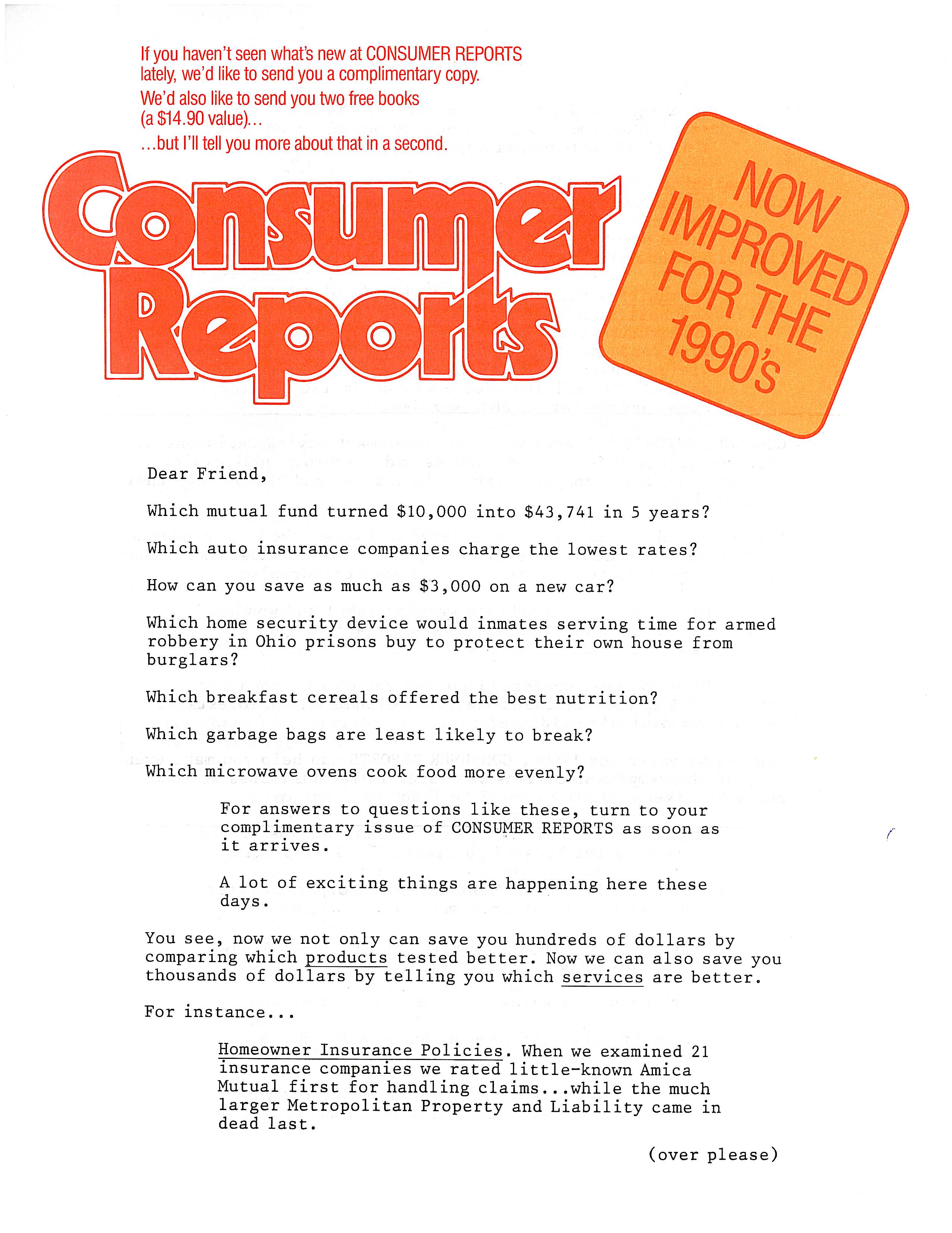 image of Consumer Reports direct mail sales letter page 1