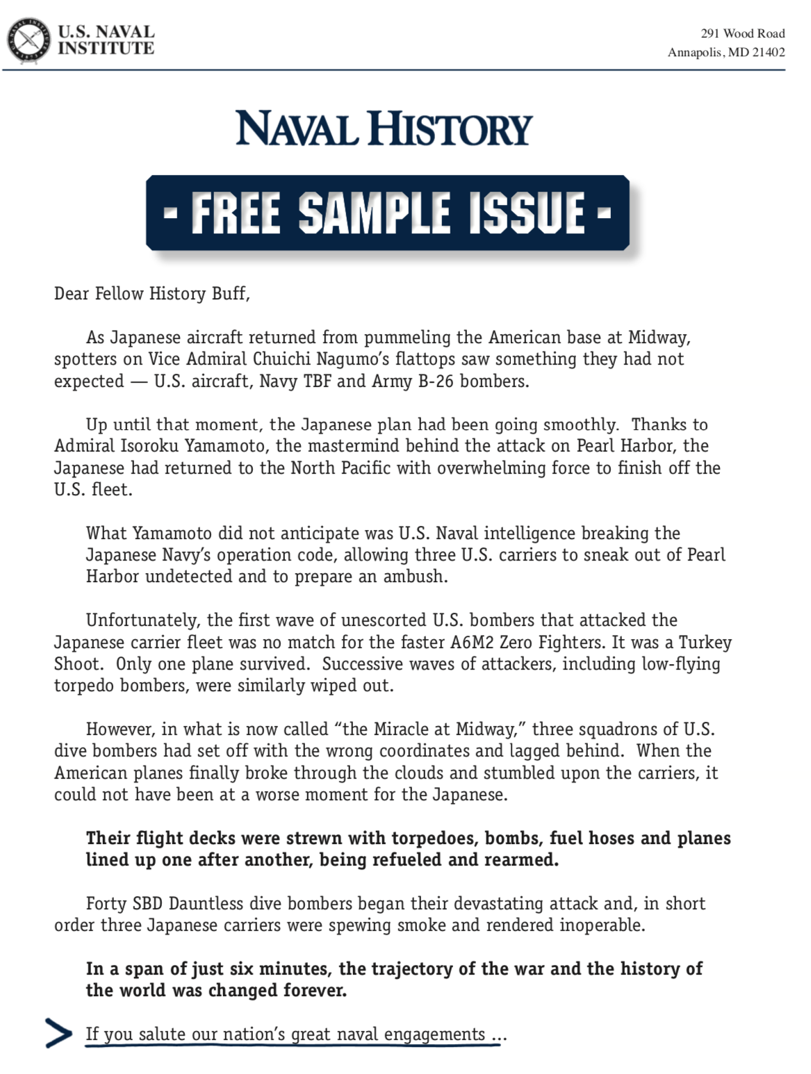 image of Naval History direct mail sales letter