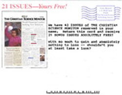 image of The Christian Science Monitor direct mail sales letter envelope